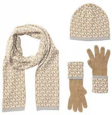 Michael Kors Womens Scarf Hat Glove Boxed Gift Set Tan Ivory Monogram $98
