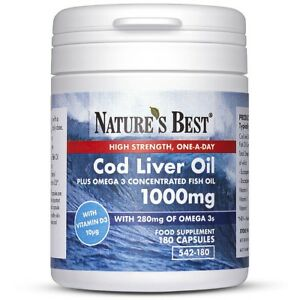 Cod Liver Oil 1000mg High Strength - 180 One-A-Day Capsules - UK Made