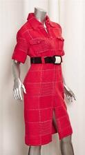 CHANEL Red White Wool  Black Belted Dress Short Sleeve Long Jacket sz.38