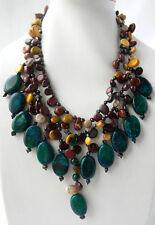 2Strands 18'' Natural Freeform Mustard Stone Malachite Necklace