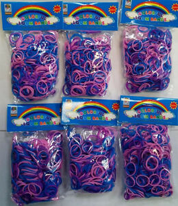 3600 New Pink Purple Blue Color Loom Refill Rubber Bands With S Clips