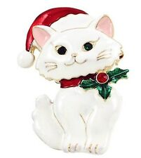 CHRISTMAS WHITE KITTY CAT WEARING SANTA HAT HOLLY BERRY ON COLLAR BROOCH PENDANT