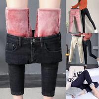 Damen Jeans Jeans Winter Warm Fleece Thermo Leggings Mädchen Hosen