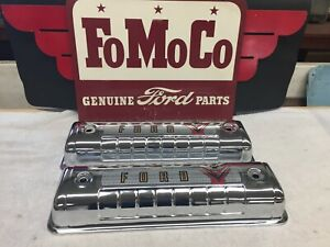 1955 1956 1957 Ford Y-Block Chrome Valve Covers with 1955 Decals 272-292-312