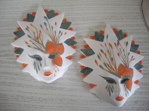 2 Keramik Masken Modell Sonne Handbemalt Deko Wandmaske Karneval