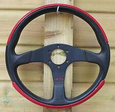 Momo Red Black Leather Steering Wheel 350mm - D35 - 70116 - 07/1998