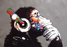 Banksy DJ Monkey with Headphones A3 Size Poster Print Chimp Gorilla RIGHT FACING