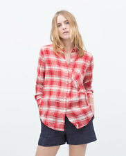 ZARA WHITE RED CHECKED SHIRT COW GIRL LIGHTWEIGHT MEDIUM 10/12 TOP BLOUSE