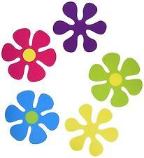 10 RETRO FLOWER MINI CUTOUTS DECORATIONS FLOWERS PARTY TABLE SCATTERS 60's 70's