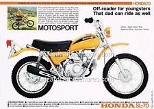 1971 HONDA SL70 SL 70 MINI BIKE MOTORCYCLE A3 POSTER AD ADVERT ADVERTISEMENT