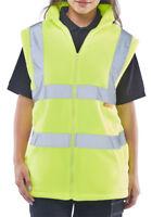 Hi Vis Fleece Gilet Sleeveless Body Warmer Zip Unisex Visibility Viz Waistcoat