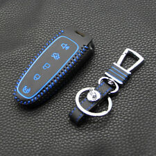 New Blue Leather 5 Buttons Remote Smart Key Holder Cover Case For Ford Edge Fob