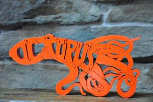 Octopus  in Ocean Wood Toy Puzzle Amish Made Sea Art Figurine Orange