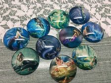 10 x 25mm Round Fantasy Mermaids Siren Cabochons jewellery,charms scrapbooking