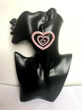 BYOU Purple Lilac Gold Multilayer Heart Shape Medium Nickel Free Earrings