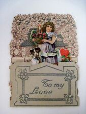 Set of (4) Vintage Pull-Down Valentine Cards w/ Hearts,Cupid, Cute Dog & Girl*