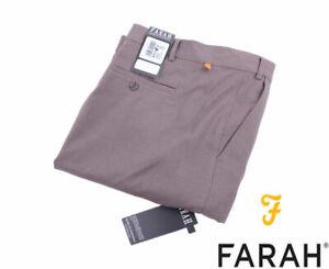 Farah Straight Flat Front Formal Pants Trousers Dark Taupe W44 L27 BNWT
