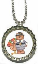 ADORABLE TEDDY BEAR & TURKEY BOTTLE CAP NECKLACE (CAP042a)