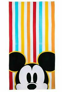 """DISNEY MICKEY MOUSE BEACH TOWEL 29"""" x 59"""" COLORFUL STRIPES"""