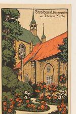 26558 Steindruck Künstler SteinZeichnung AK Stralsund Rosengarten Johanniskirche