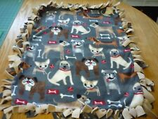 Handmade Plush fleece tie blanket of playful dogs for a small pet