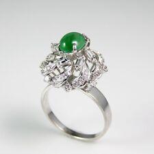 Art Deco Jade Jadeite Cabochon Diamond Engagement Ring Platinum 1920s Filigree