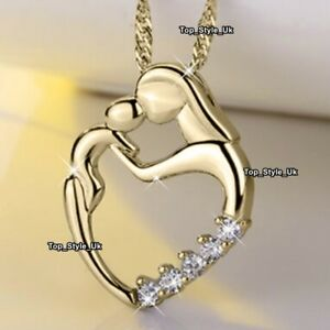 Mother and Daughter Heart Gold Necklace Xmas Presents Gifts for Her Mum Mom S1