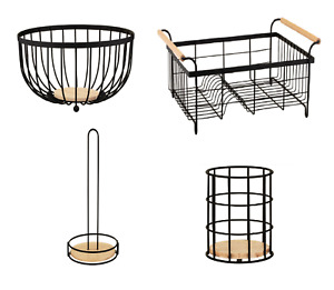 New Black & Wood Kitchen Accessories Fruit Bowl, Cutlery Holder, Roll Holder