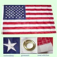 3'x5' FT American Flag USA US U.S. Embroidered Stars Sewn Stripes Brass Gromm