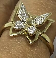 GOLD BuTtErFlY Ring 14k yellow Simulated Diamond size 7 ask 5 6 8 9