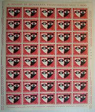 1967 ITALIA  40  lire Festival di Spoleto   foglio intero MNH**