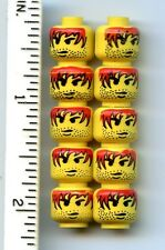 LEGO x 10 Yellow Minifig, Head Male Red Hair with Black Outline, Stubble Pattern