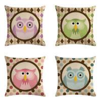"""Cartoon Owl Linen Cotton Throw Pillow Case Cushion Cover Fashion Home Decor 18"""""""