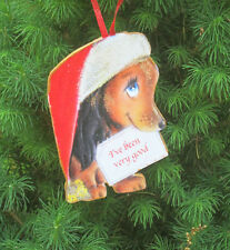 Dachshund Christmas Ornament Santa Claus Hat Dog Lover Gift Mid-Century Modern