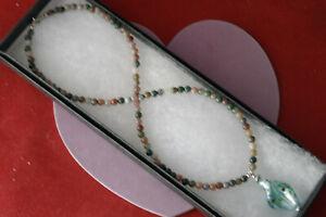 "Beautiful Necklace/Pendant With Argate & Murano Glass 16"" INC. Long + Pendant"