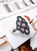 AD202 925 Sterling Silver Vintage Art Deco Blue White Sapphire cross knot Ring R