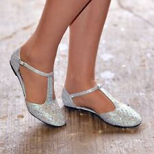 Ladies Flat Ballerina Christmas Party Shoes Closed Toe Tbar Ankle Strap  Sandals