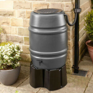Harcostar Grey 168L Water Butt Barrel With Stand + Diverter - Recycle Rainwater