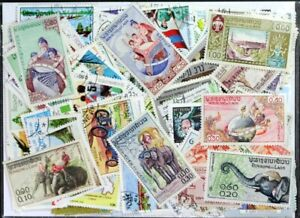 LAOS wonderful colorful topical stamp collection of 400 different stamps (Lot#DP
