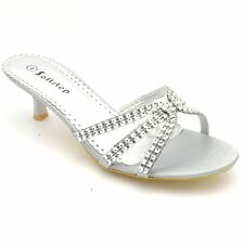 WOMEN'S LOW HEEL PARTY WEDDING BRIDAL SIMULATED DIAMANTE FASHIONS SANDALS F-318