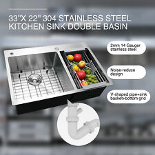 "Top Mount Kitchen Sinks 14 Gauge 304 Stainless  Steel Dual Basin 33""x22""x9''"