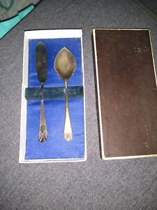 vintage Silver plated butter knife and jam spoon , patterned handles