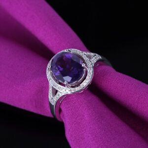 Valentine's Day 10x8mm Oval Amethyst Halo Diamonds Gemstone Ring 14K White Gold