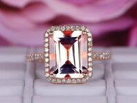 3.20Ct Emerald Cut Morganite Halo Engagement Ring Solid 14K Rose Gold Finish