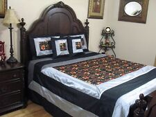 Designer Linens Bedding Bedspread Black Embroidery Elegant Bedroom Decor - Queen