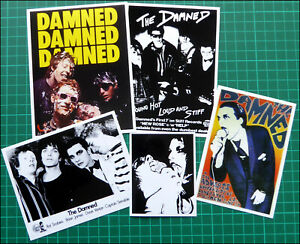 THE DAMNED, Exclusive Set of FIVE Glossy Vinyl Promo Stickers, PUNK ROCK