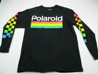 Polaroid Mens Black Long Sleeve Graphic T Shirt Tee Camera Adult Large