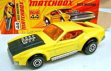 Matchbox SF Nr.44B Boss Mustang gelb & schwarz silberne Bodenplatte in Box