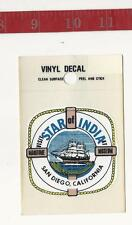 Vintage Vinyl decal Star of India San Diego California Baxter Lane FREE SHIPPING