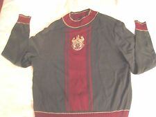 St John by Marie Gray Moss Green Burgundy Gold Sweater With SJ Crest Size P